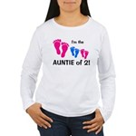 CUSTOM AUNTIE OF 2 - Women's Long Sleeve T-Shirt