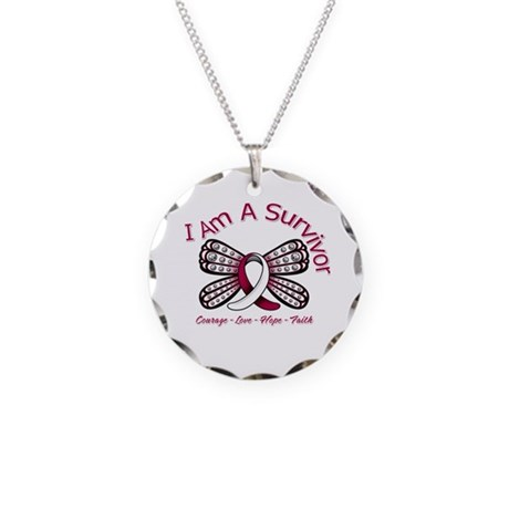 Throat Cancer I'm A Survivor Necklace Circle Charm