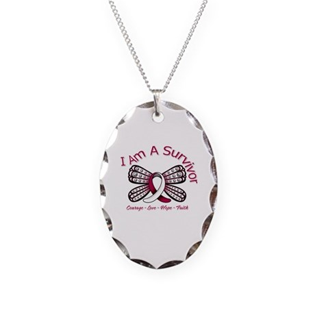 Throat Cancer I'm A Survivor Necklace Oval Charm