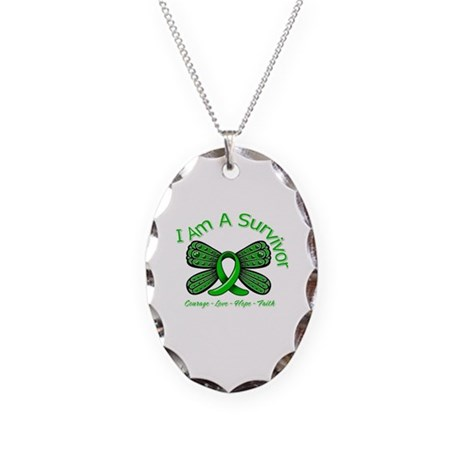 TBI I'm A Survivor Necklace Oval Charm