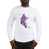 Chicago Men's Long Sleeve Shirt Purple on White