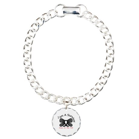 Skin Cancer I'm A Survivor Charm Bracelet, One Cha