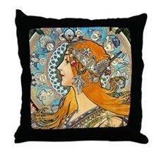 Mucha - La Plume Throw Pillow