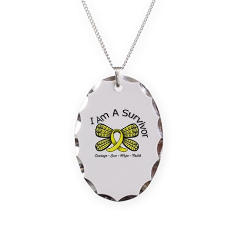 Sarcoma Cancer I'm A Survivor Necklace Oval Charm