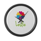 Leslie Valentine Flower Large Wall Clock
