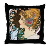 Mucha Feather Throw Pillow