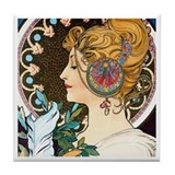 Mucha Feather Tile Coaster
