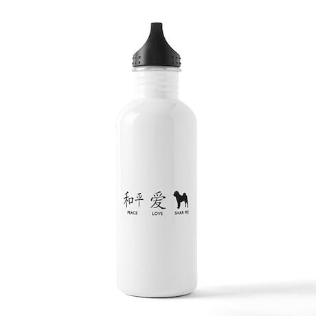 Chinese-Peace, Love, Shar Pei Stainless Water Bott