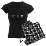 Chinese-Peace, Love, Shar Pei Women's Dark Pajamas