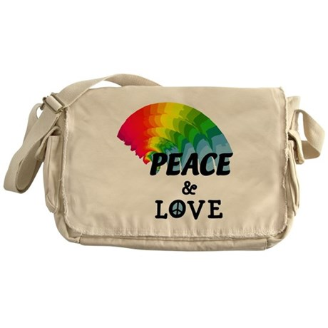 Rainbow Peace and Love Messenger Bag