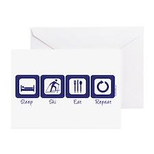 Sleep- Ski- Eat- Repeat Greeting Cards (Package of