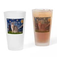 Starry / Blue Abbysinian cat Drinking Glass