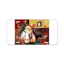 Santa's 3 cats Aluminum License Plate