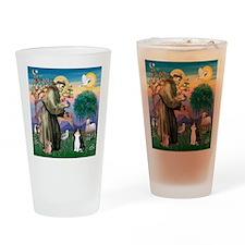 St Francis / (B&W) Cat Drinking Glass