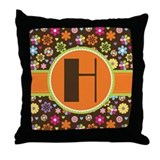 Letter H Monogram Flowered Throw Pillow