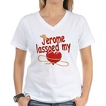 Jerome Lassoed My Heart Women's V-Neck T-Shirt