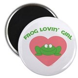 Green Frog girl Magnet