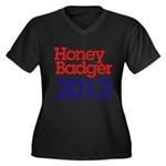 Honey Badger 2012 Women's Plus Size V-Neck Dark T-