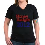 Honey Badger 2012 Women's V-Neck Dark T-Shirt