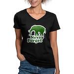 Never forget Women's V-Neck Dark T-Shirt