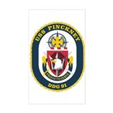 USS Pinckney DDG 91 Rectangle Decal