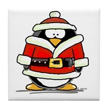 Santa Claus penguin Tile Coaster