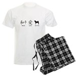 Japanese Peace, Love, Akitas Men's Light Pajamas