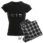 Japanese Peace, Love, Akitas Women's Dark Pajamas