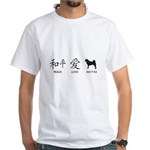 Japanese Peace, Love, Akitas White T-Shirt