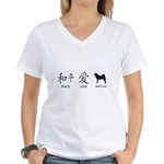 Japanese Peace, Love, Akitas Women's V-Neck T-Shir