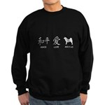 Japanese Peace, Love, Akitas Sweatshirt (dark)