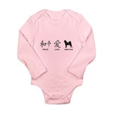 Japanese Peace, Love, Shibas Long Sleeve Infant Bo