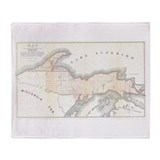 1849 Upper Peninsula Map Throw Blanket