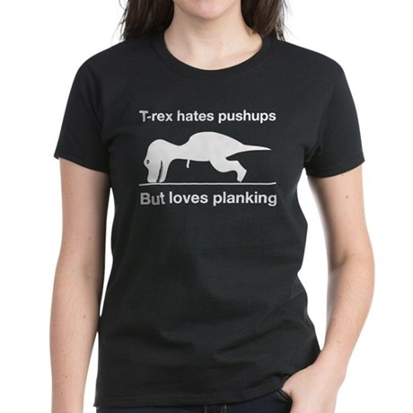 T-rex Planking Women's Dark T-Shirt