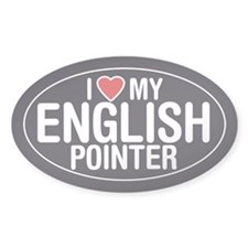 I Love My English Pointer Oval Sticker/Decal