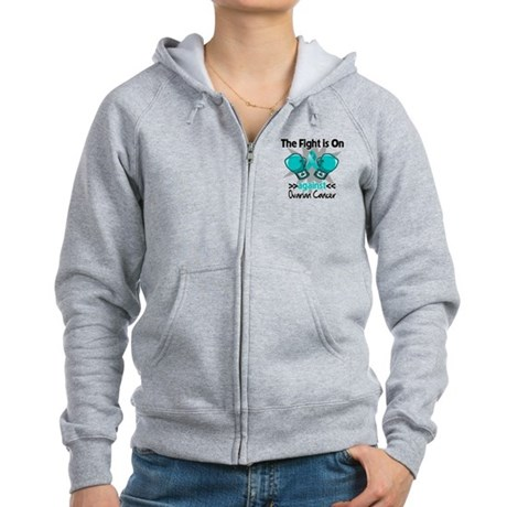 Fight is On Ovarian Cancer Women's Zip Hoodie