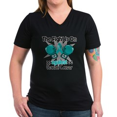 Fight is On Ovarian Cancer Women's V-Neck Dark T-S