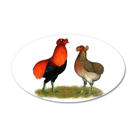 Araucana Chickens 38.5 x 24.5 Oval Wall Peel