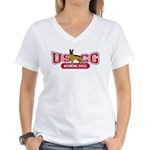 USCG Working Dogs Women's V-Neck T-Shirt