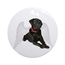 Black Lab Angel Ornament (Round)