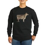 Brown Swiss Dairy Cow Long Sleeve Dark T-Shirt