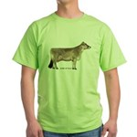 Brown Swiss Dairy Cow Green T-Shirt