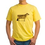 Brown Swiss Dairy Cow Yellow T-Shirt