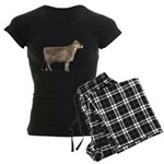 Brown Swiss Dairy Cow Women's Dark Pajamas