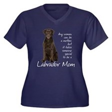 Chocolate Lab Mom Women's Plus Size V-Neck Dark T-