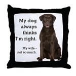 Chocolate Lab v. Wife Throw Pillow