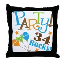 34 Rocks 34th Birthday Throw Pillow