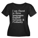 Fluent in 3 languages Women's Plus Size Scoop Neck