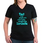 Tact vs Sarcasm Women's Black V-Neck