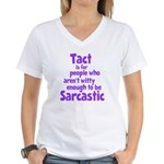 Tact vs Sarcasm Women's V-Neck T-Shirt